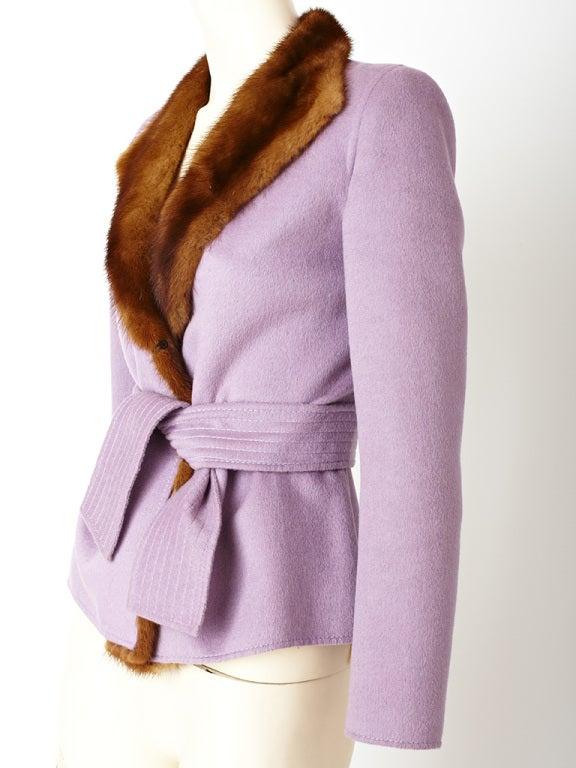Valentino Double Face Wool Jacket with Mink Trim 3