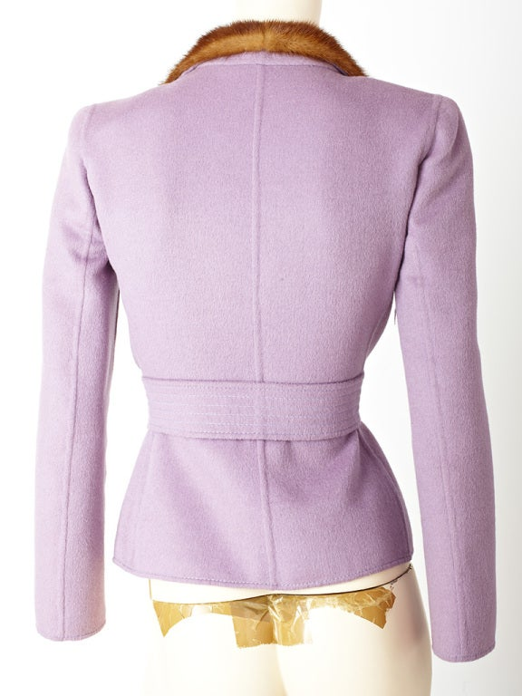 Valentino Double Face Wool Jacket with Mink Trim 4