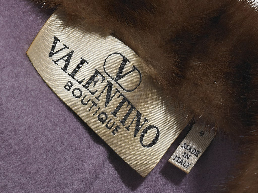 Valentino Double Face Wool Jacket with Mink Trim 5