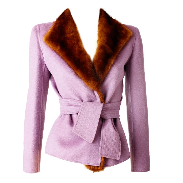 Valentino Double Face Wool Jacket with Mink Trim 1