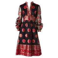 Malcom Starr Red and Black Medallion Dress