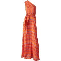 Stephen Burrows Printed Chiffon One Shoulder Dress