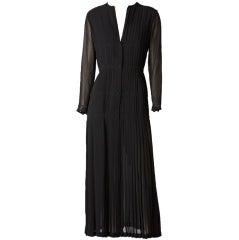 Jaques Molko Pleated Chiffon Dress