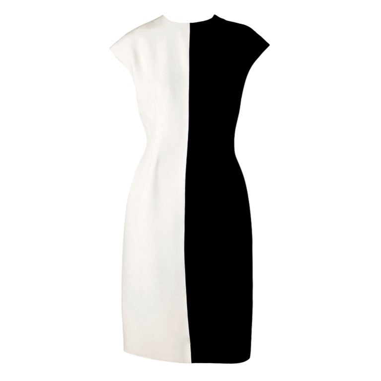 Geoffrey Beene Silk Crepe Black and White Dress