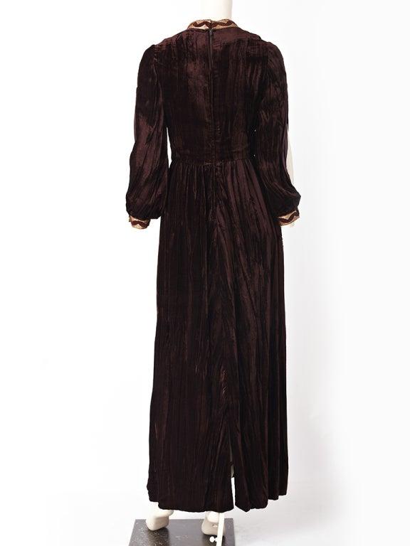 Black Oscar de la Renta Velvet Maxi Dress For Sale