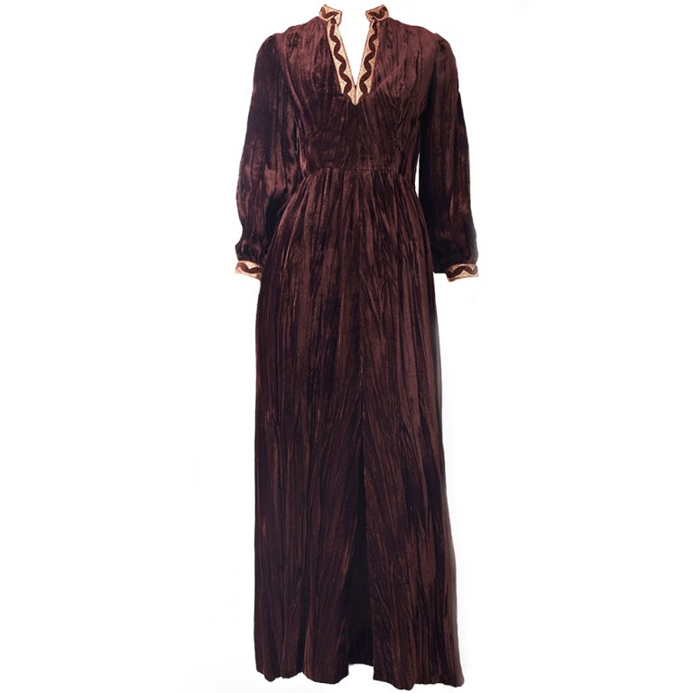 Oscar de la Renta Velvet Maxi Dress For Sale