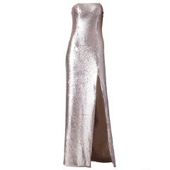 Vickey Tiel Sequined Strapless Gown