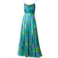 Kiki Hart Colorful Chiffon and Beaded Evening Dress