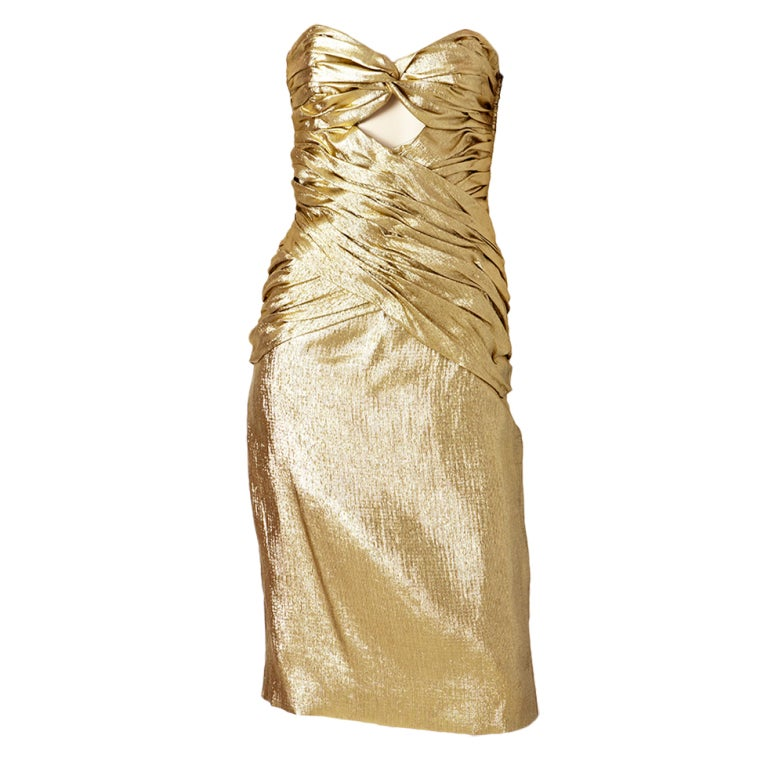 Vicky Tiel Gold Lame Strapless Cocktail Dress At 1stdibs