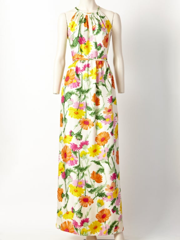 Donald Brooks Floral Print Halter Dress 2