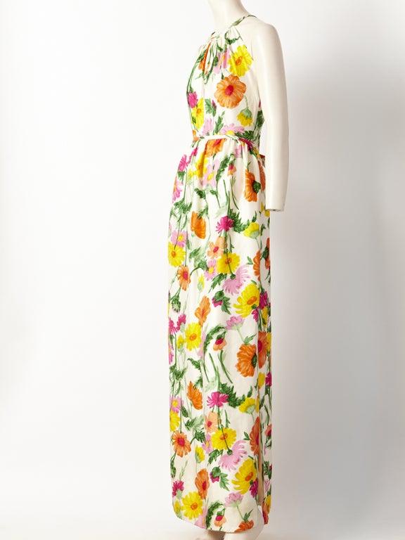 Donald Brooks Floral Print Halter Dress 3