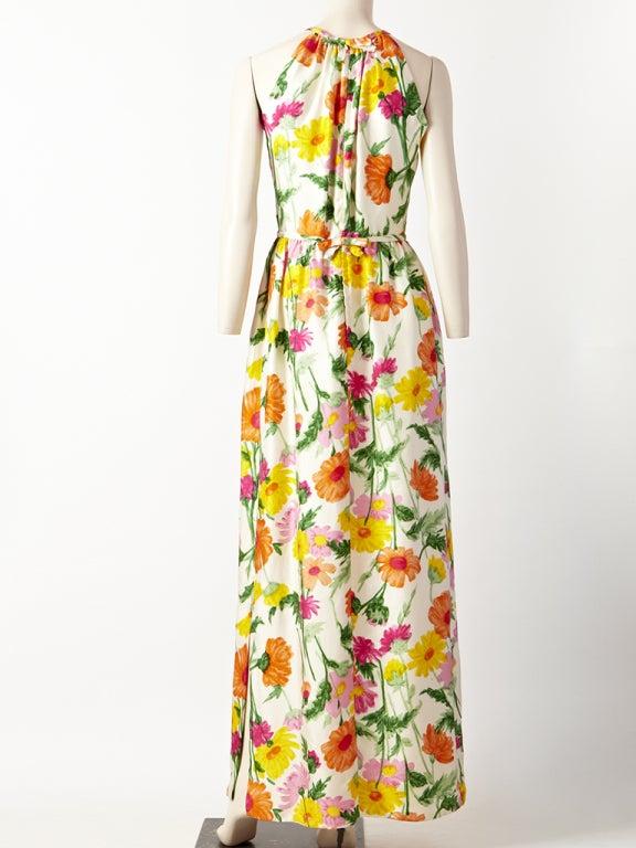 Donald Brooks Floral Print Halter Dress 4