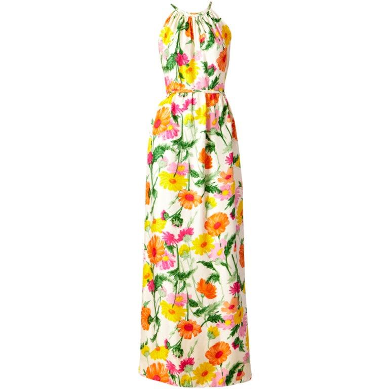 Donald Brooks Floral Print Halter Dress 1