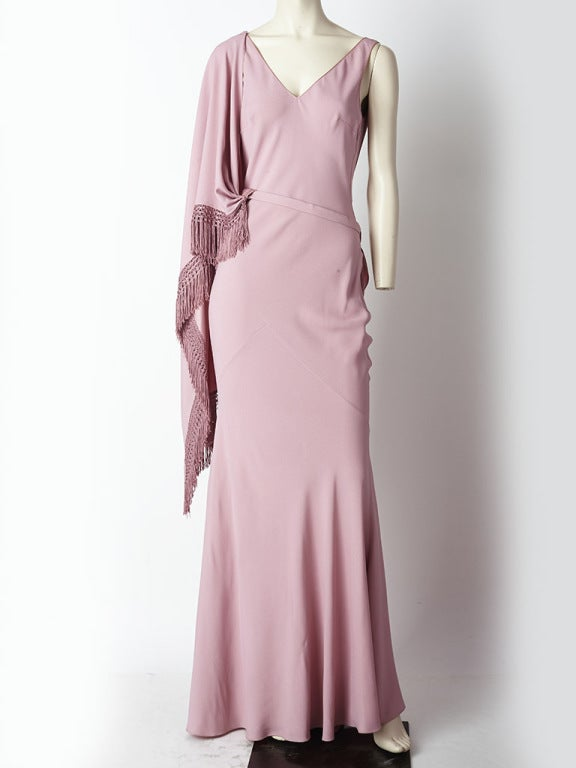 John Galliano Bias Cut Gown with Fringed Cape 2