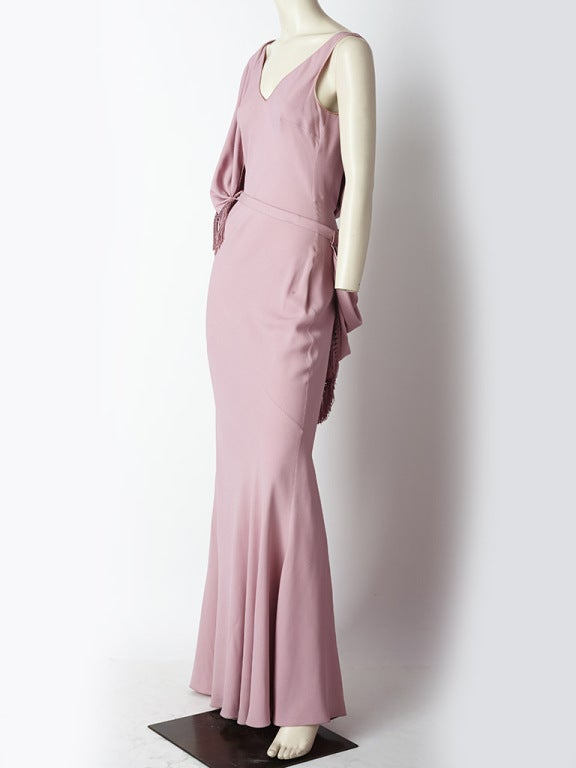 John Galliano Bias Cut Gown with Fringed Cape 3