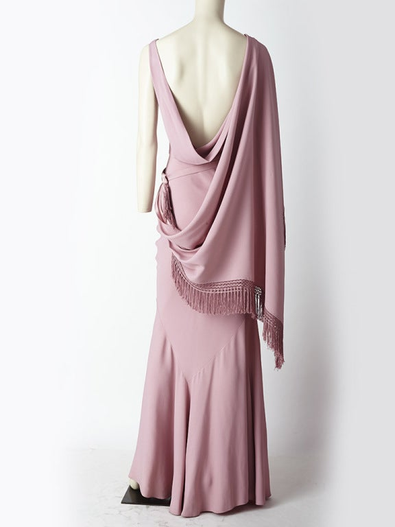 John Galliano Bias Cut Gown with Fringed Cape 4
