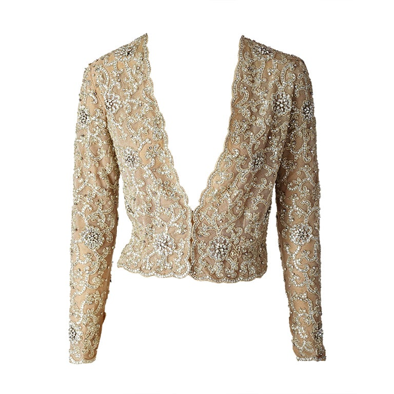 MW Moss Lessage Embroidered On Tulle Jacket | 1stdibs.com