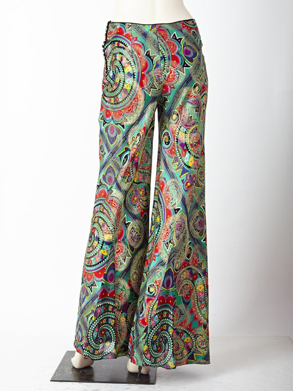 John Galliano Colorful Bell Bottom Pants image 4