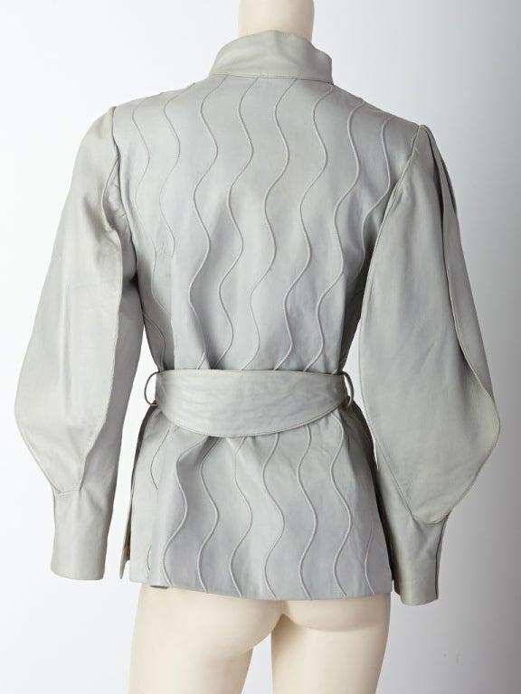 Gray Ronaldus Shamask Leather Belted Jacket For Sale