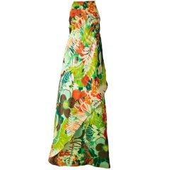 Scassi Tropical Print Organza Gown