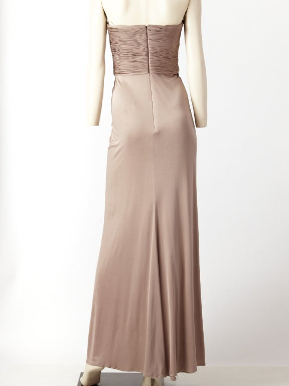 Brown Oscar de la Renta Grecian Inspired Jersey Gown For Sale