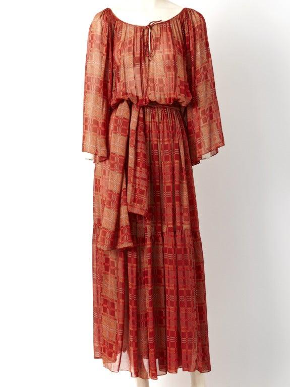 Chiffon 1970's Boho Dress 2