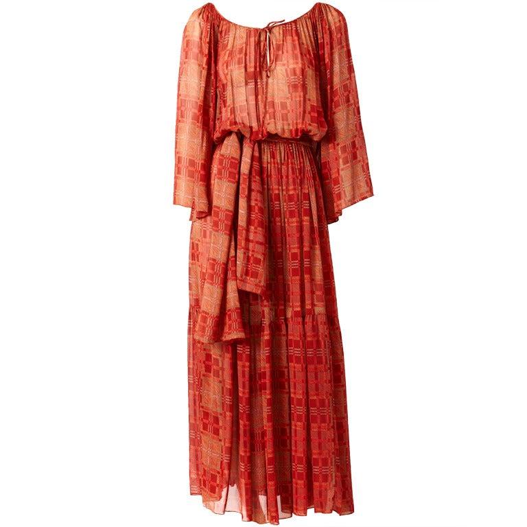 Chiffon 1970's Boho Dress 1