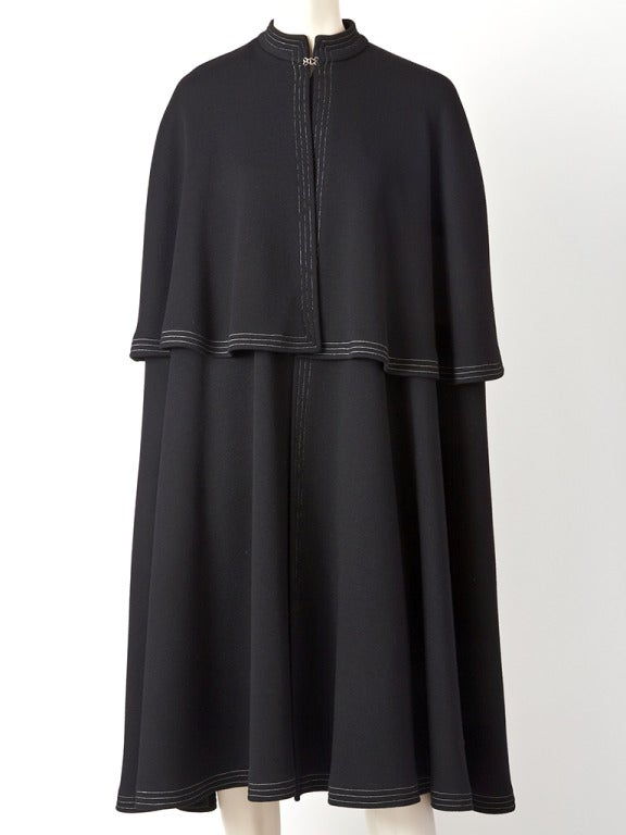 Sibley-Coffee, black, heavy, double wool knit cape with capelet.
