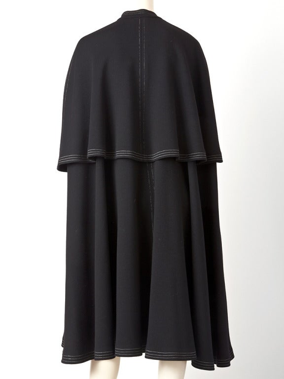 Sibley- Coffee Tiered Cape In Excellent Condition For Sale In New York, NY