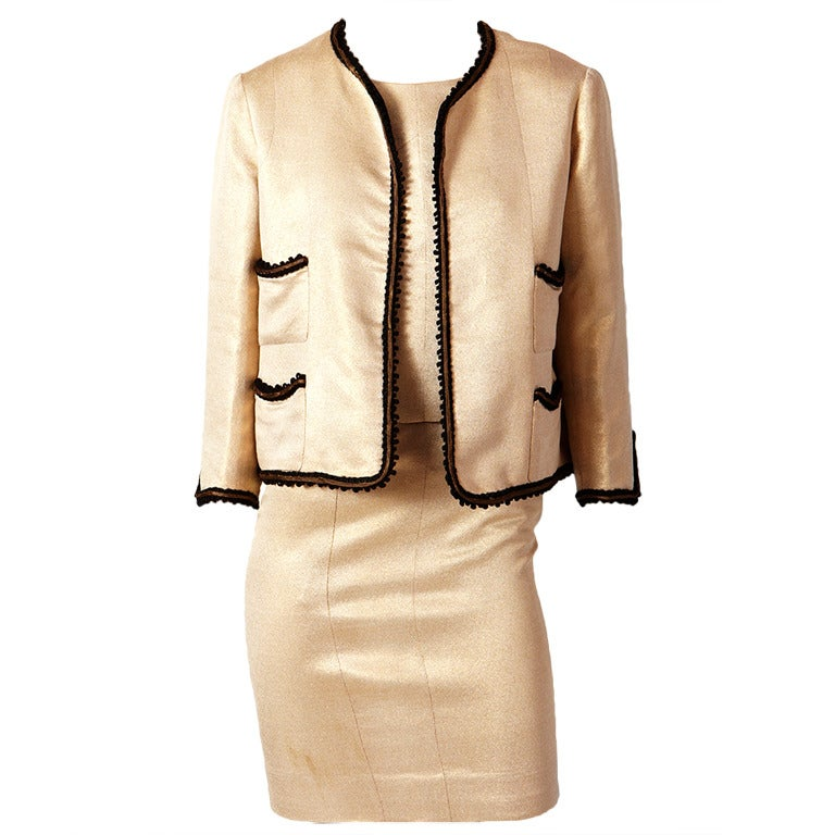 Coco chanel haute couture gold lame 3 pc suit at 1stdibs for Chanel haute couture price range
