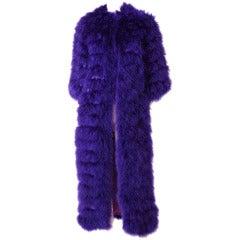 Alfred Bosand Purple  Maribou Evening Coat