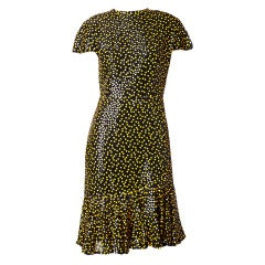 Arnold Scassi Cocktail Dress With Yellow Sequins