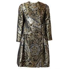 Burke - Amey Paisley Pattern Brocade Evening Coat