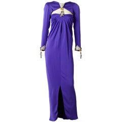 Carolyne Roehm Rhinstone Embellished Satin Evening Gown