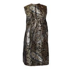 Burke-Amey Paisley Pattern Empire Waist Brocade Dress