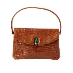 Morabito Croc Bag with Jade Clasp