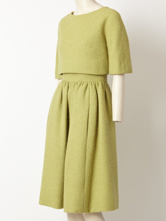 Norell Pistachio  Wool Boucle Day Dress 2