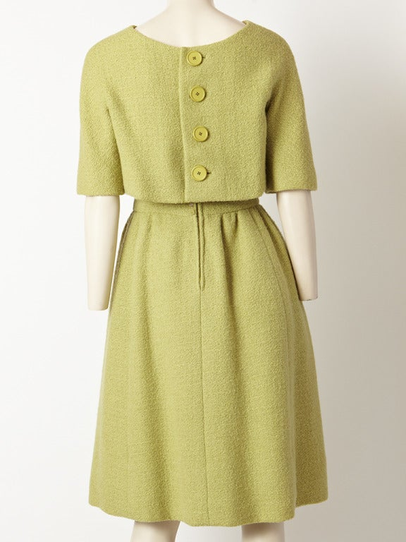 Norell Pistachio  Wool Boucle Day Dress 3