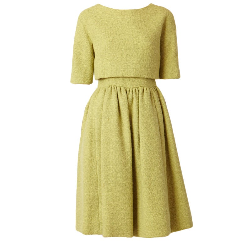 Norell Pistachio  Wool Boucle Day Dress 1