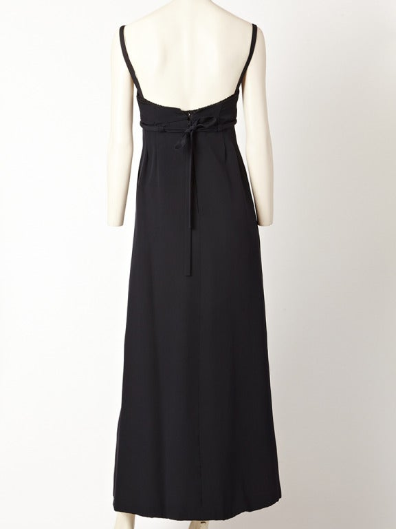 Black Pauline Trigere Empire Waist Gown For Sale