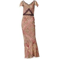 John Galliano Bias Cut Chiffon and Lace Gown