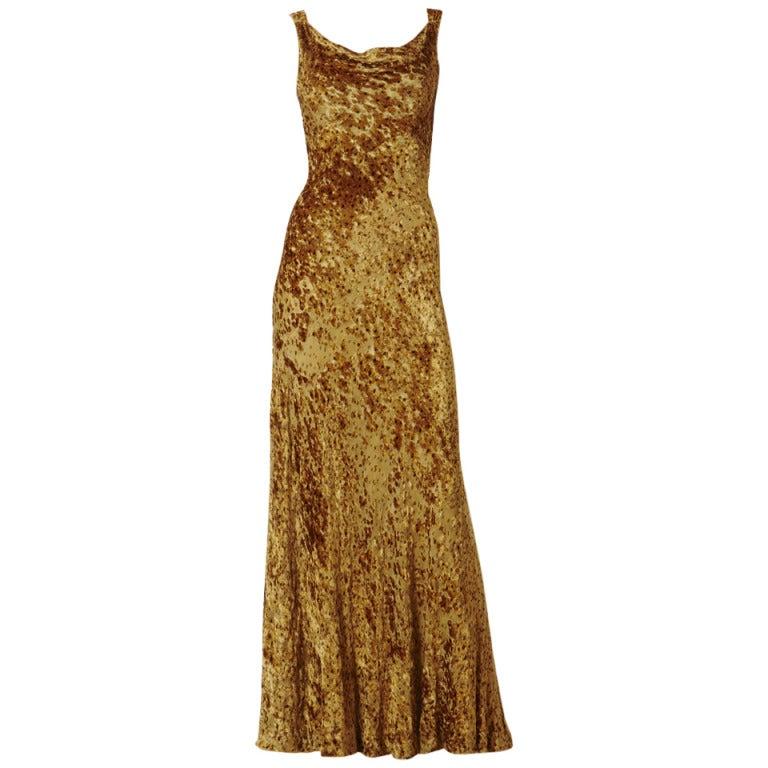 Oscar de la Renta Cut Velvet Gown