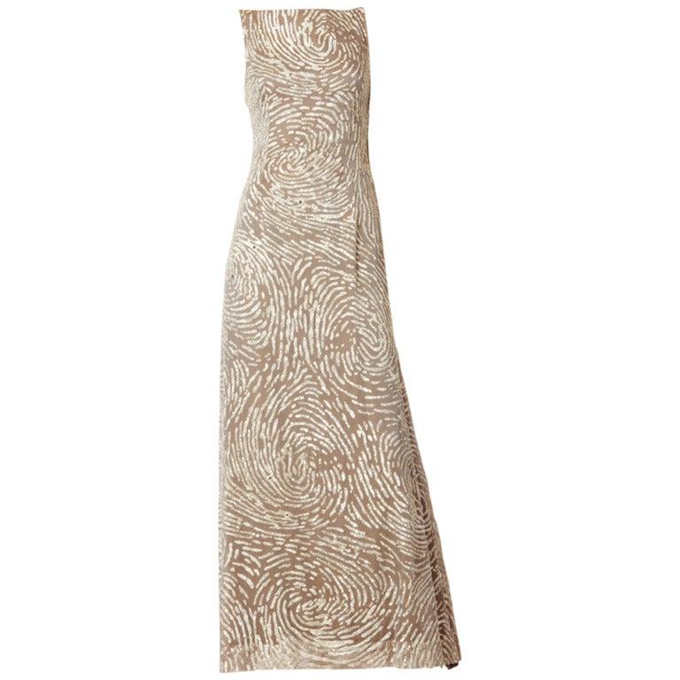 Oscar de la Renta Sequined and Chiffon Gown For Sale