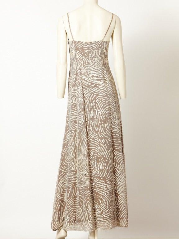 Beige Oscar de la Renta Sequined and Chiffon Gown For Sale