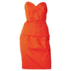Yves Saint Laurent Polka Dot Bustier and Skirt