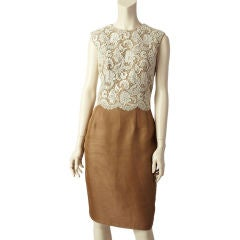 Carolyne Roehm Lace+ Gazar Cocktail Dress