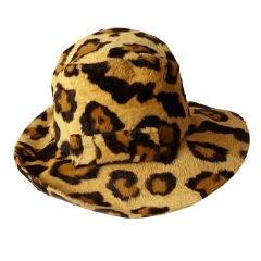 Adolfo Faux Leopard Fedora