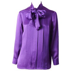 Chanel Satin Blouse With Pussycat Bow