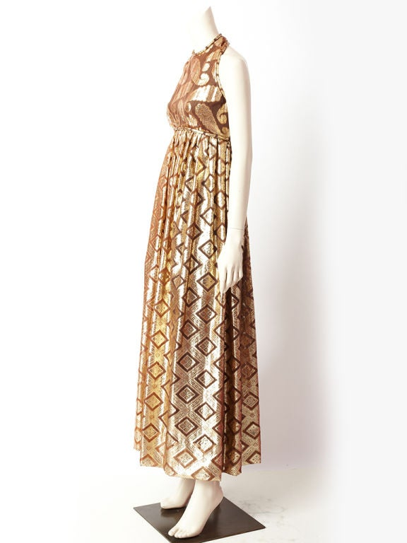 Women's Brown and Gold lame Saks Dress