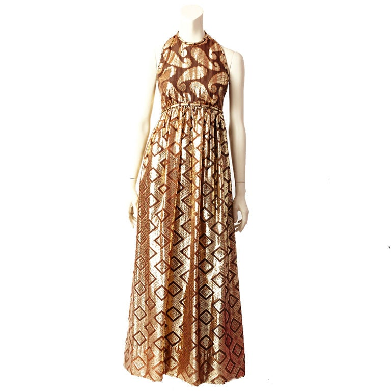 Brown and Gold lame Saks Dress